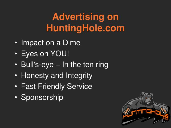 Advertising on HuntingHole.com