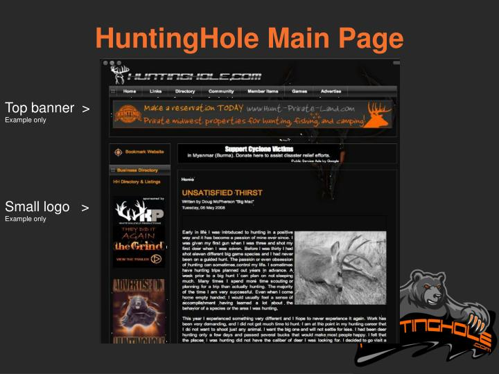 HuntingHole Main Page