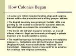 how colonies began