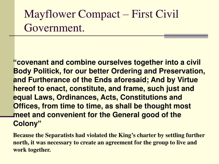 Mayflower Compact – First Civil Government.