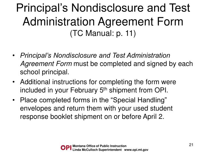 Principal's Nondisclosure and Test Administration Agreement Form