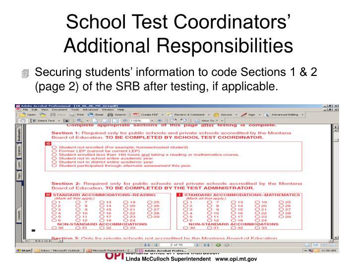 School Test Coordinators'