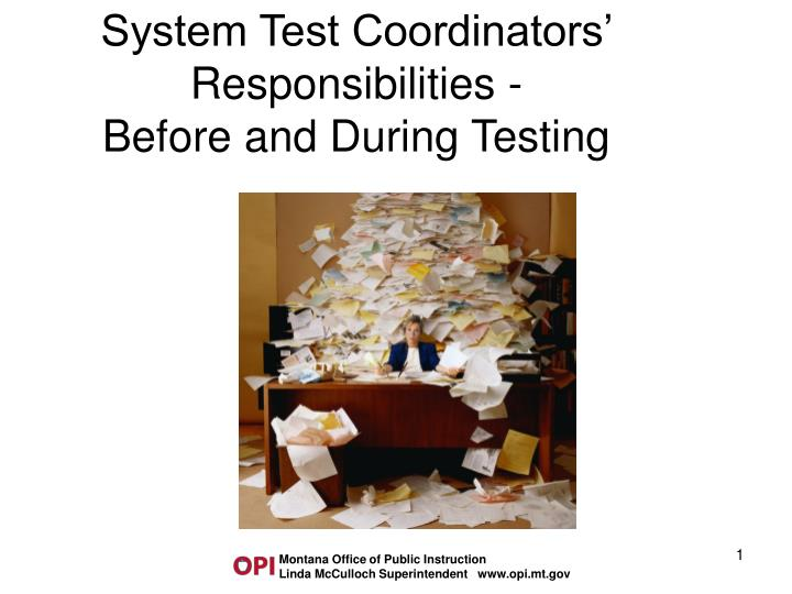 system test coordinators responsibilities before and during testing
