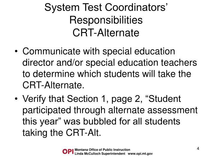 System Test Coordinators' Responsibilities