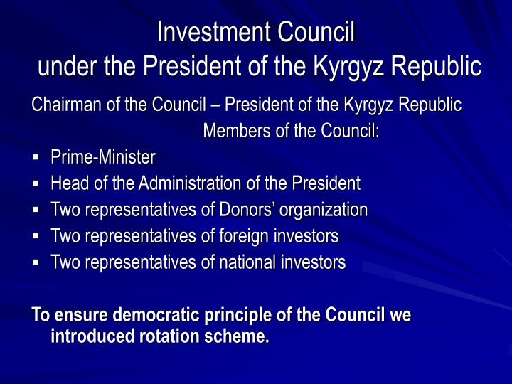 Investment council under the president of the kyrgyz republic2