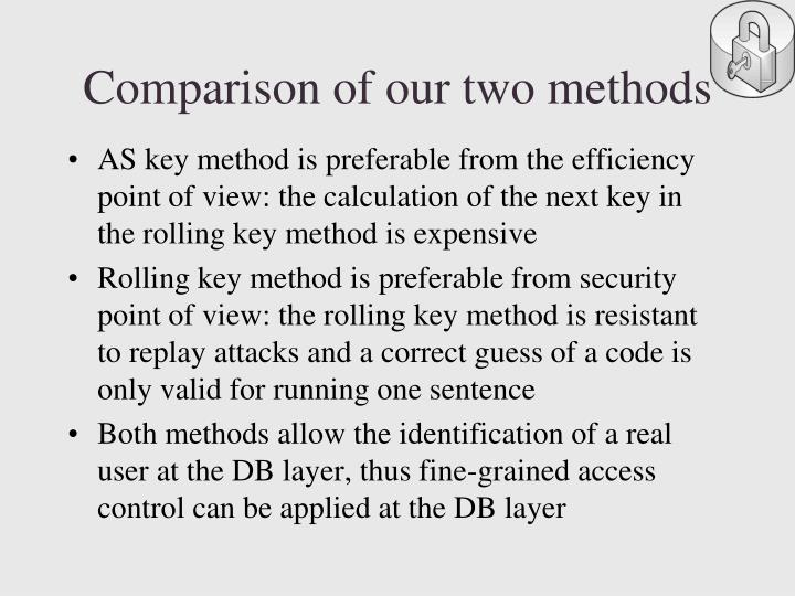 Comparison of our two methods