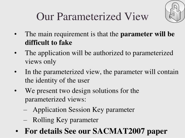 Our Parameterized View