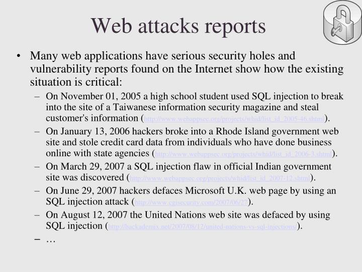 Web attacks reports