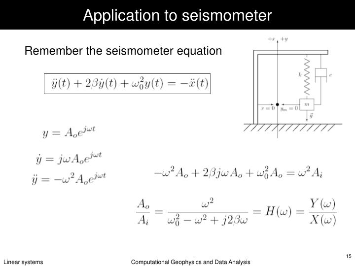 Application to seismometer
