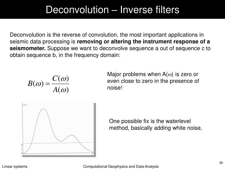 Deconvolution – Inverse filters