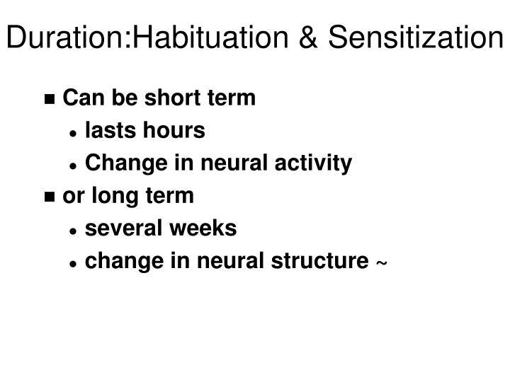 Duration:Habituation & Sensitization