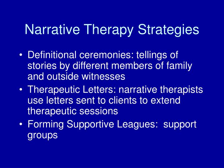 Narrative Therapy Strategies