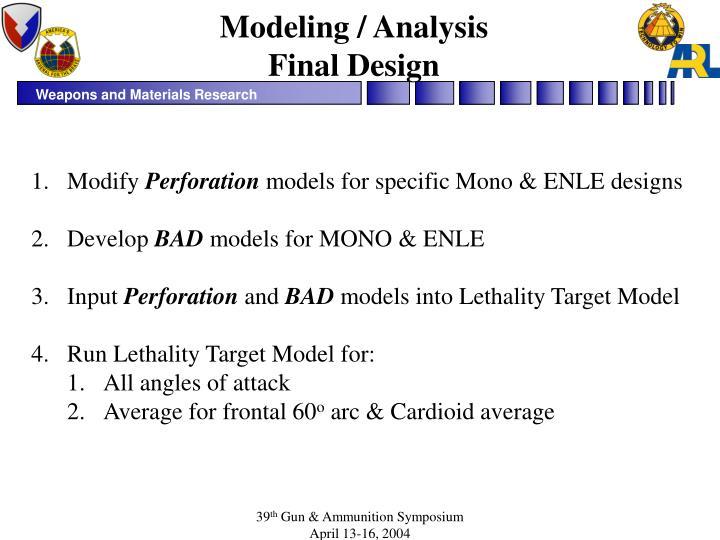 Modeling / Analysis