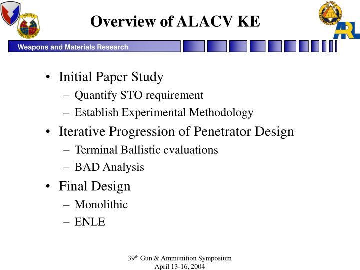 Overview of ALACV KE