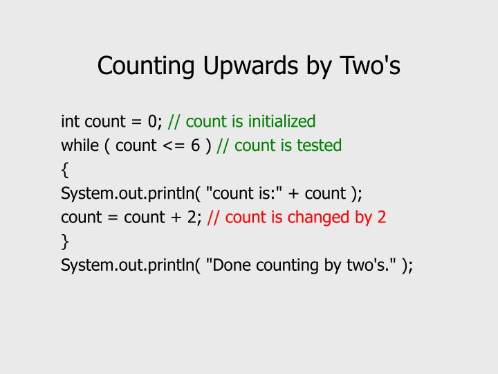 Counting Upwards by Two's