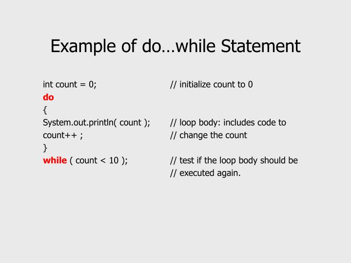 Example of do…while Statement