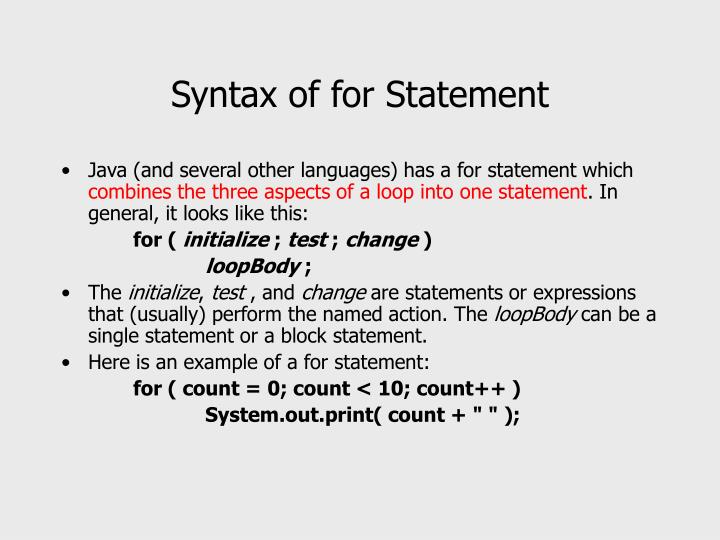 Syntax of for Statement