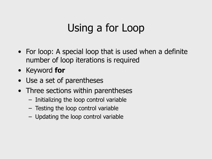 Using a for Loop