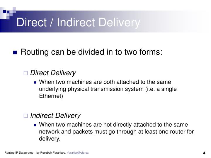 Direct / Indirect Delivery