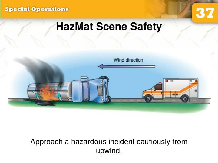 Approach a hazardous incident cautiously from upwind.