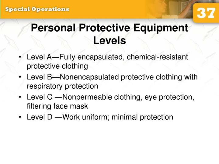 Personal Protective Equipment Levels