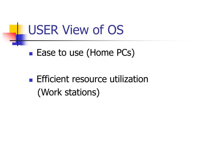 USER View of OS