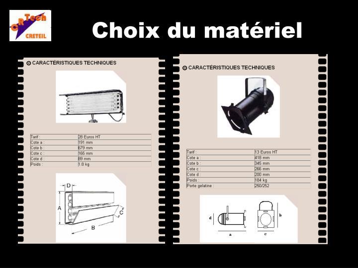 Choix du matériel