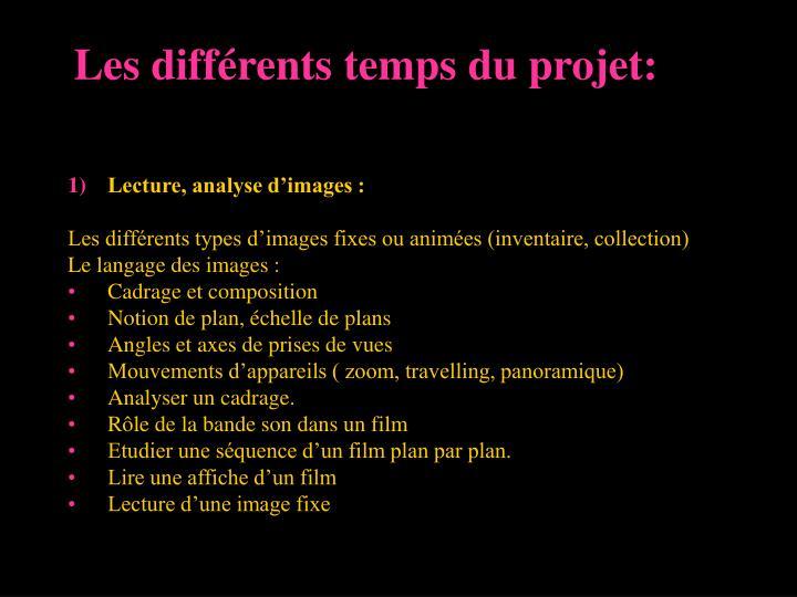 Les différents temps du projet: