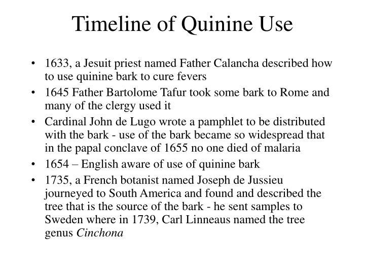 Timeline of Quinine Use