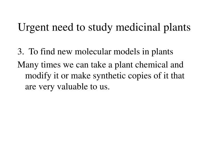 Urgent need to study medicinal plants