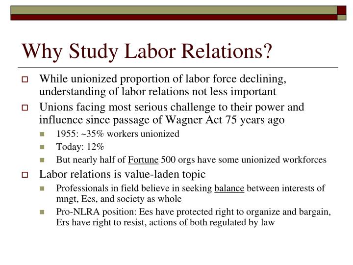 why study labor relations