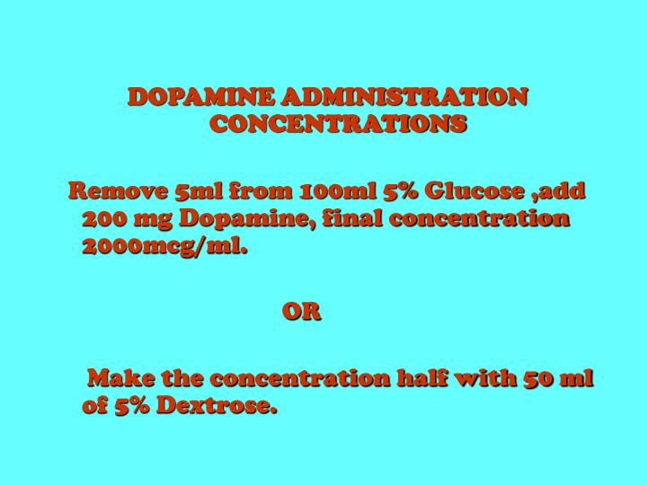 DOPAMINE ADMINISTRATION     CONCENTRATIONS