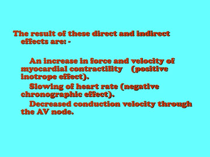 The result of these direct and indirect effects are: -