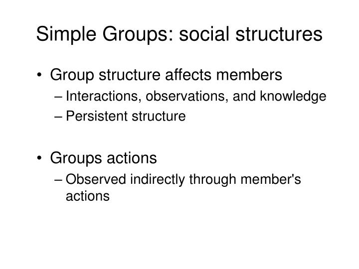 Simple Groups: social structures