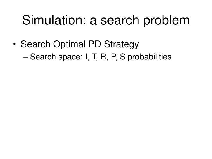 Simulation: a search problem