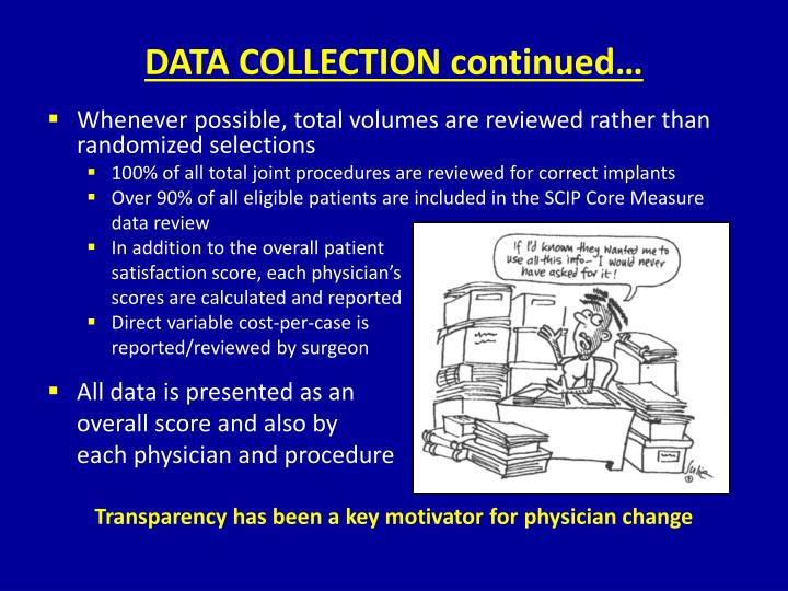 DATA COLLECTION continued…