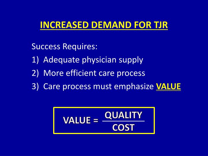 INCREASED DEMAND FOR TJR