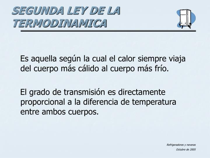 Es aquella según la cual el calor siempre viaja del cuerpo más cálido al cuerpo más frío.