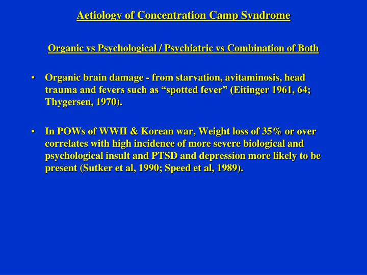 Aetiology of Concentration Camp Syndrome