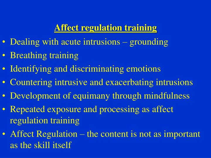 Affect regulation training