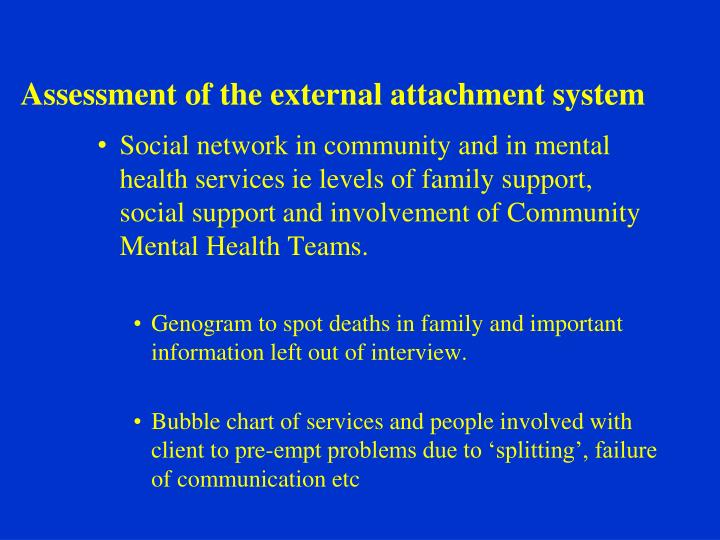 Assessment of the external attachment system