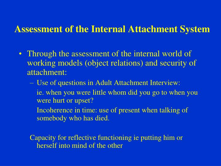 Assessment of the Internal Attachment System