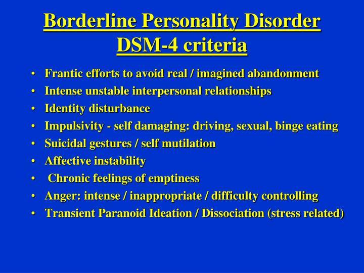 Borderline Personality Disorder DSM-4 criteria