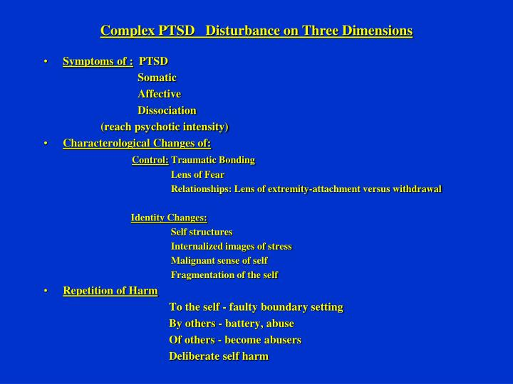 Complex PTSD   Disturbance on Three Dimensions
