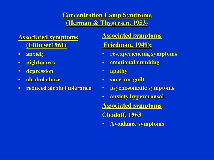 Associated symptoms (Eitinger1961)