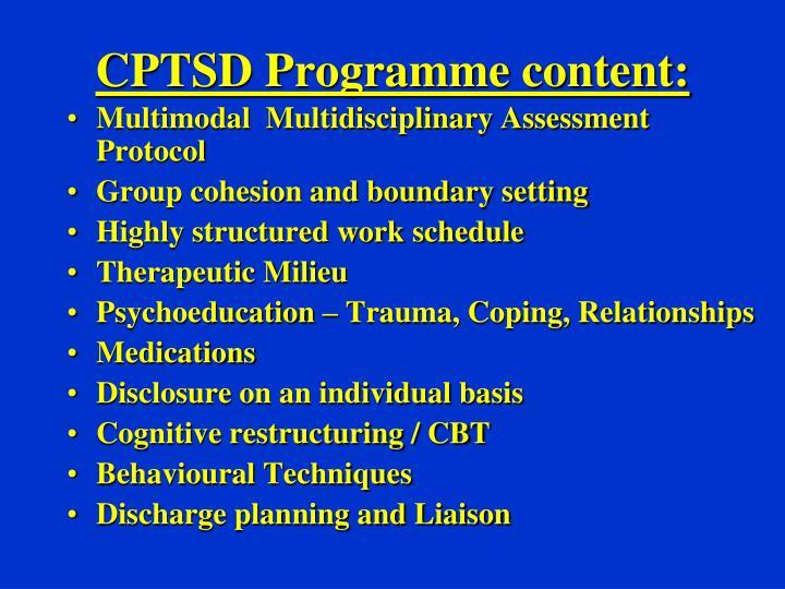 CPTSD Programme content: