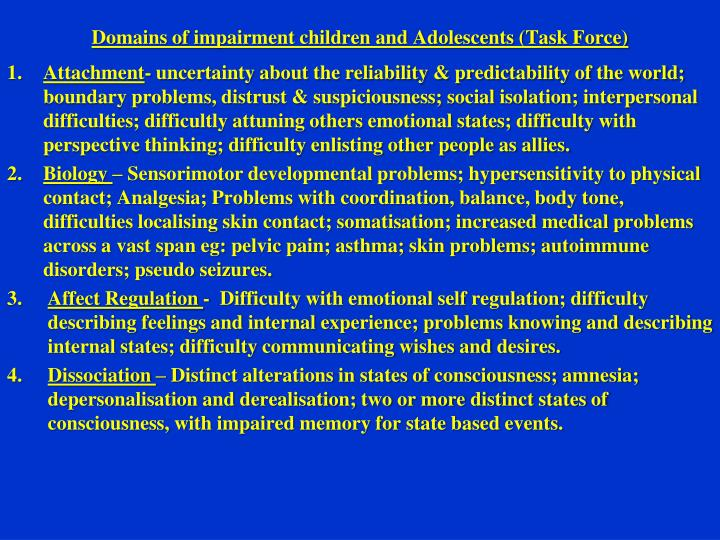 Domains of impairment children and Adolescents (Task Force)