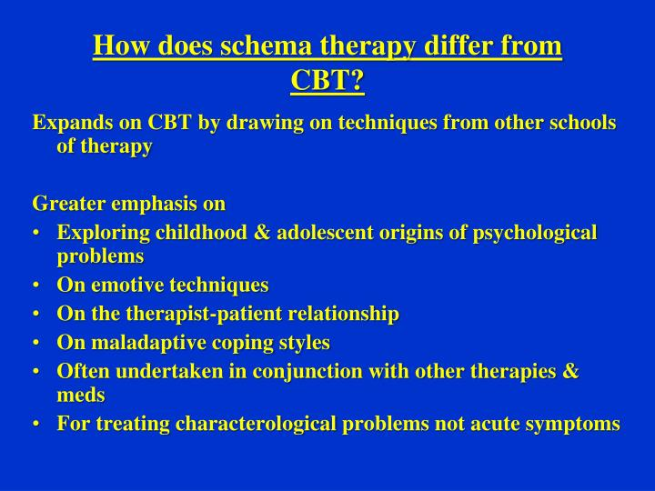 How does schema therapy differ from CBT?