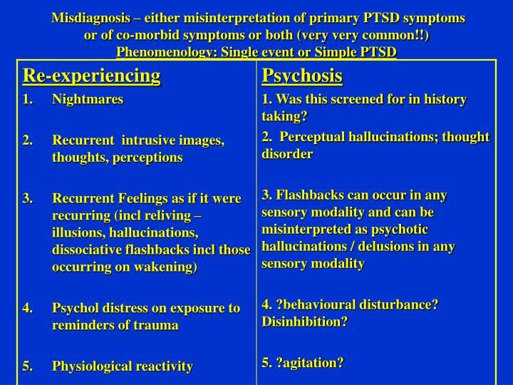 Misdiagnosis – either misinterpretation of primary PTSD symptoms or of co-morbid symptoms or both (very