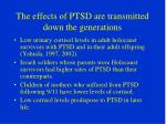 the effects of ptsd are transmitted down the generations
